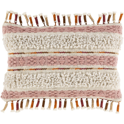 Amaretta AEO-002 Hand Woven Lumbar Pillow in Cream & Rose by Surya