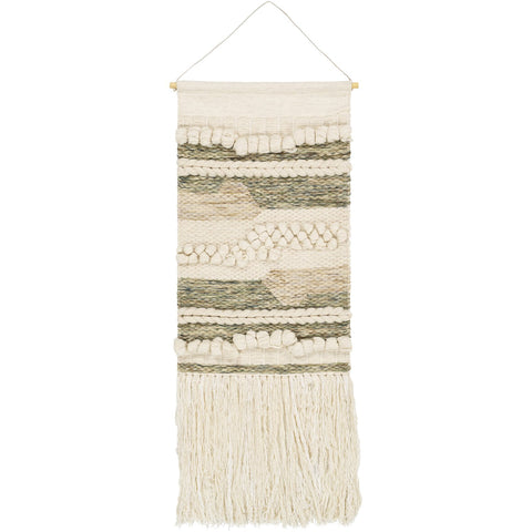 Artifice AFC-1001 Hand Woven Wall Hanging in Cream & Olive by Surya