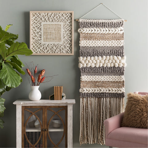 Artifice II AFE-1000 Hand Woven Wall Hanging in Camel & Cream by Surya