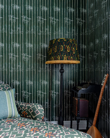 A Fable Wallpaper in Indigo from the Complementary Collection by Mind the Gap