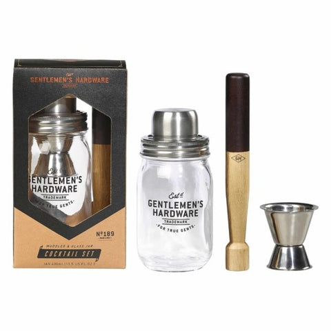 Muddler & Glass Jar Cocktail Set
