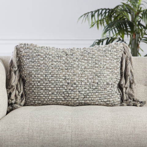 Cilo Textured Pillow in Light Gray & Ivory by Jaipur Living
