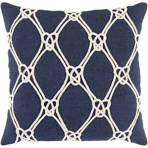 Marion AIO-001 Woven Pillow in Dark Blue & White by Surya