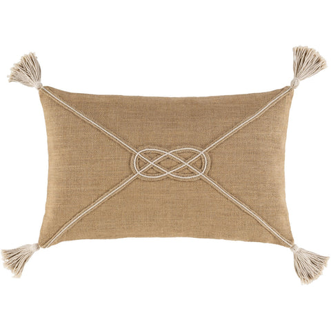 Marion AIO-002 Woven Lumbar Pillow in Camel & Ivory in Various Styles
