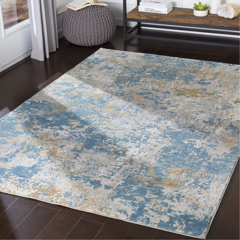 Aisha AIS-2302 Rug in Sky Blue & Mustard by Surya