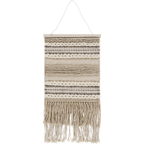 Additri AIT-1000 Hand Woven Wall Hanging in Khaki & Cream by Surya