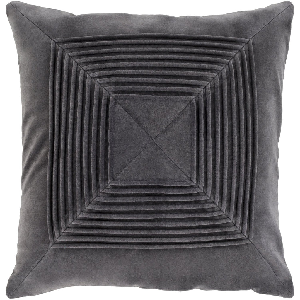 Akira AKA-004 Velvet Pillow in Charcoal by Surya