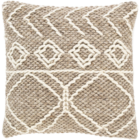 Anniken AKN-001 Hand Woven Pillow in Cream & Taupe by Surya