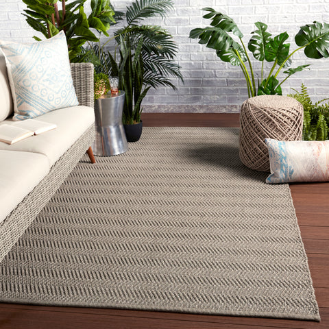 Saeler Indoor/Outdoor Striped Grey Rug by Jaipur Living