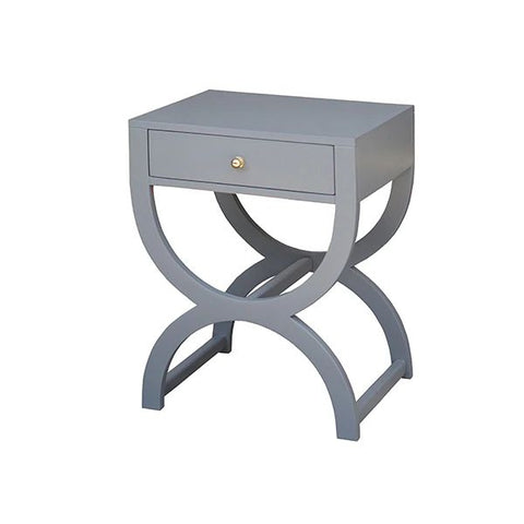 Alexis One Drawer Side Table in Matte Grey Lacquer design by BD Studio