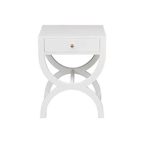 Alexis One Drawer Side Table in Matte White Lacquer
