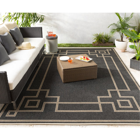 Alfresco ALF-9630 Rug in Black & Camel by Surya