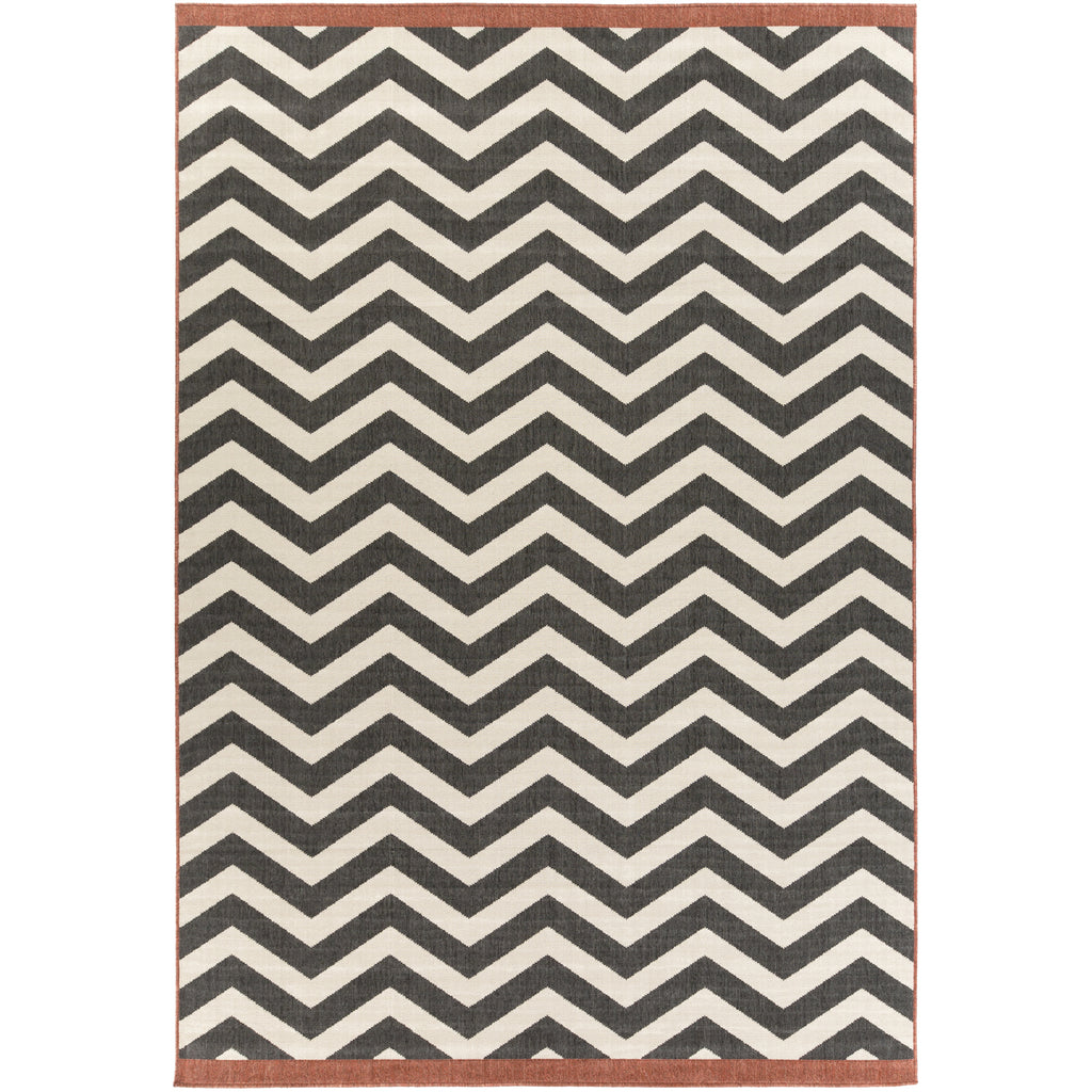Alfresco ALF-9646 Rug in Black & Cream in Various Sizes