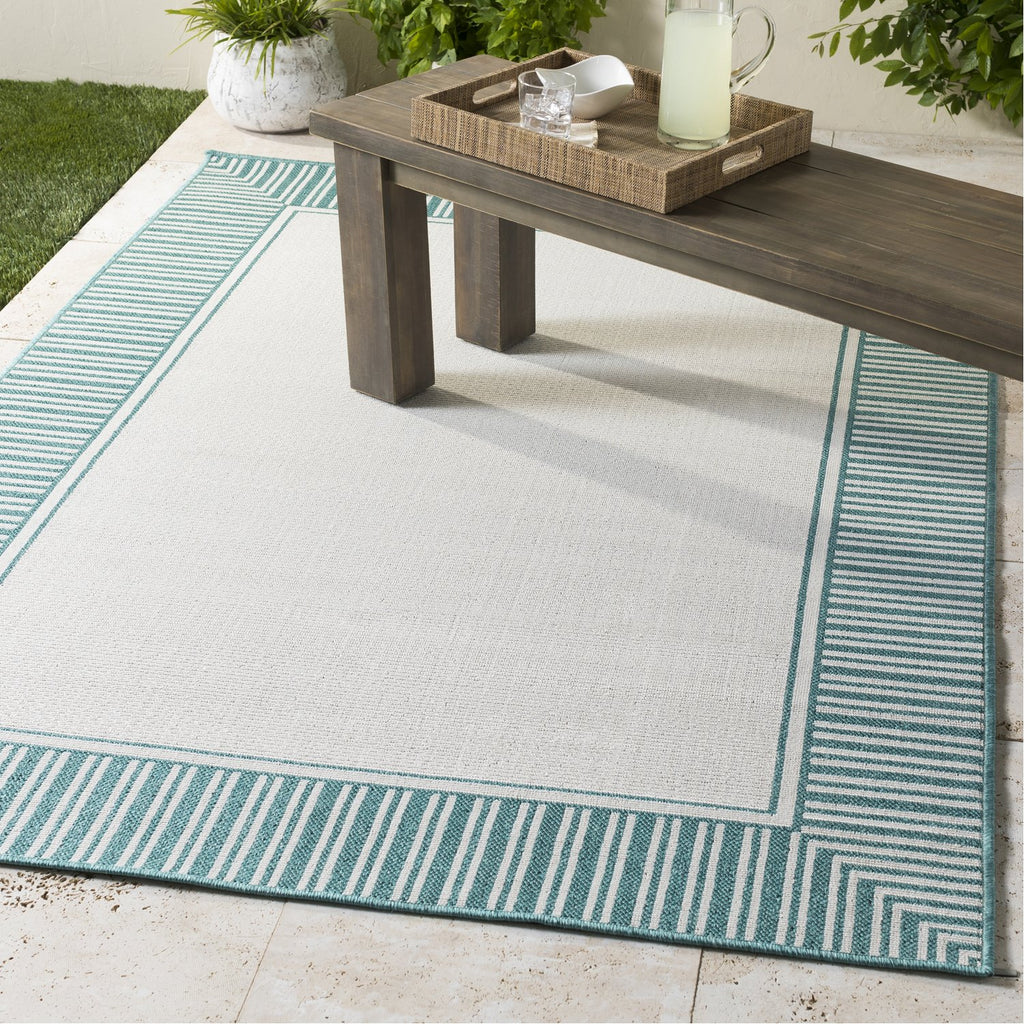 Alfresco ALF-9680 Rug in Teal & White by Surya