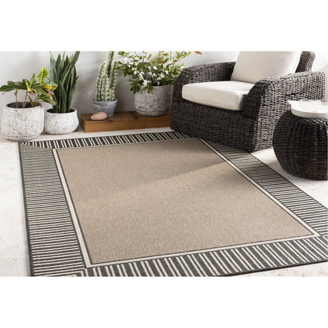 Alfresco ALF-9684 Rug in Camel & Black by Surya