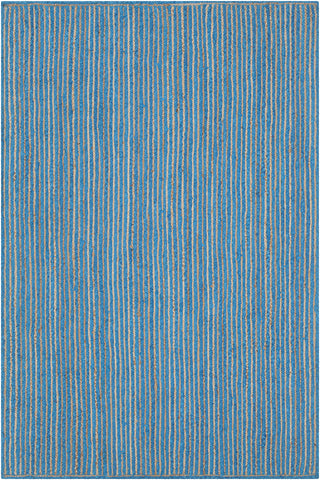 Alyssa Collection Hand-Woven Area Rug in Blue & Natural
