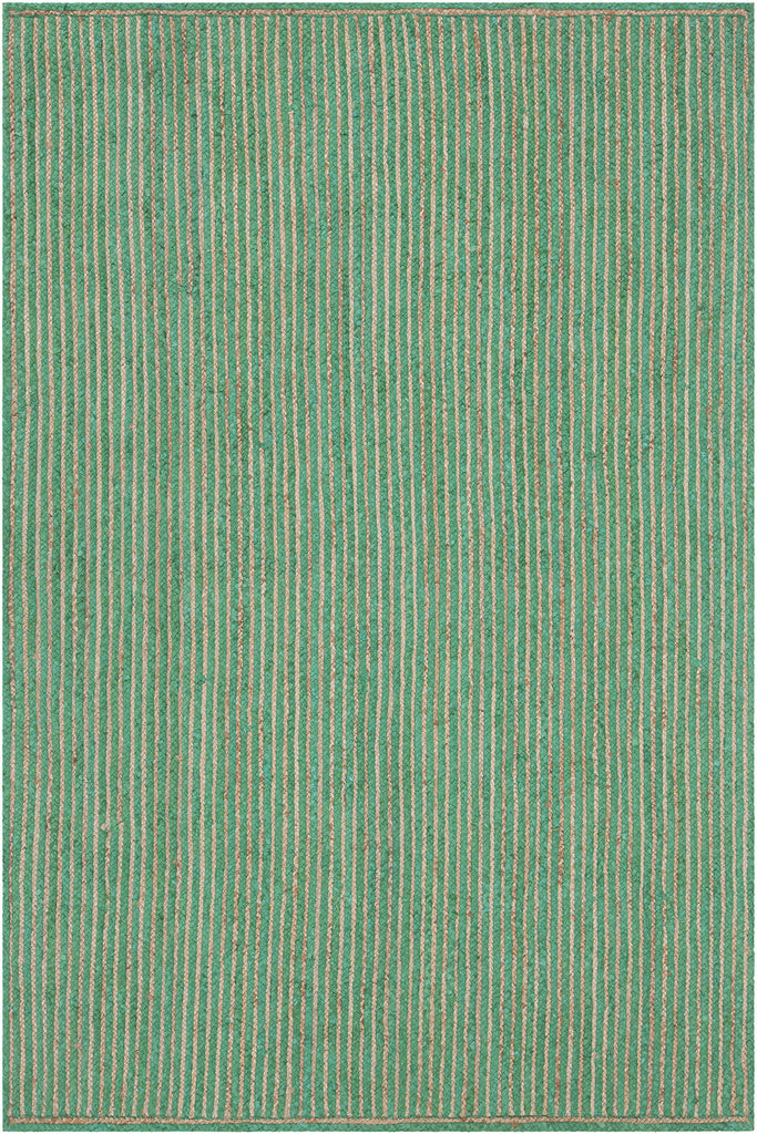 Alyssa Collection Hand-Woven Area Rug in Dark Green & Natural