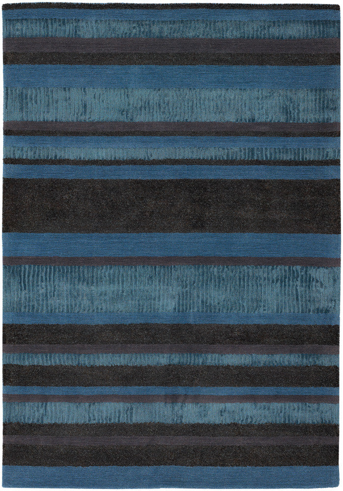 Amigo Collection Hand-Woven Area Rug in Blue, Grey, & Charcoal