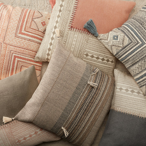 Cainen Stripes Pillow in Brown & Cream