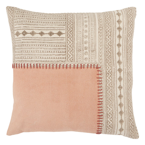 Ayami Tribal Pillow in Light Pink & Cream