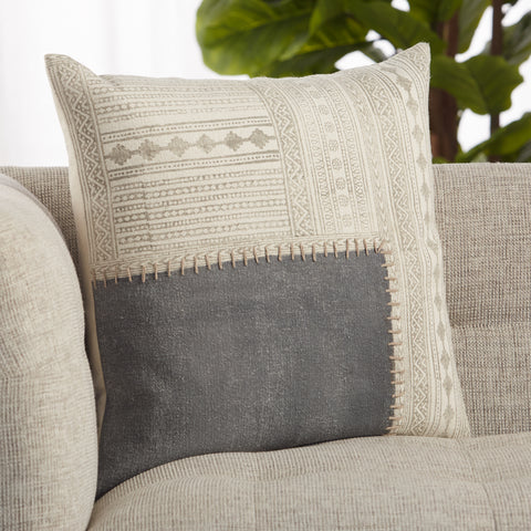 Ayami Tribal Pillow in Gray & Cream