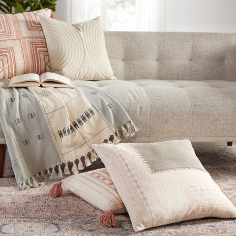Ayami Tribal Pillow in Light Pink & Gray