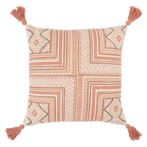 Saskia Tribal Pillow in Pink & Cream