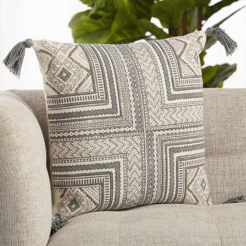 Saskia Tribal Pillow in Gray & Cream