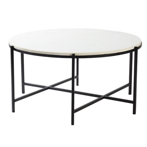 Anaya ANA-001 Coffee Table in White Top & Black Base by Surya