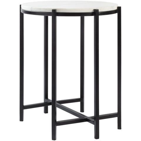 Anaya ANA-002 End Table in White Top & Black Base by Surya