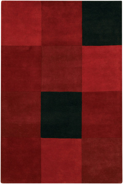 Area Rug For Living Room in Red & Black