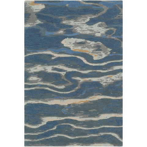 Artist Studio Rug in Navy & Sea Foam