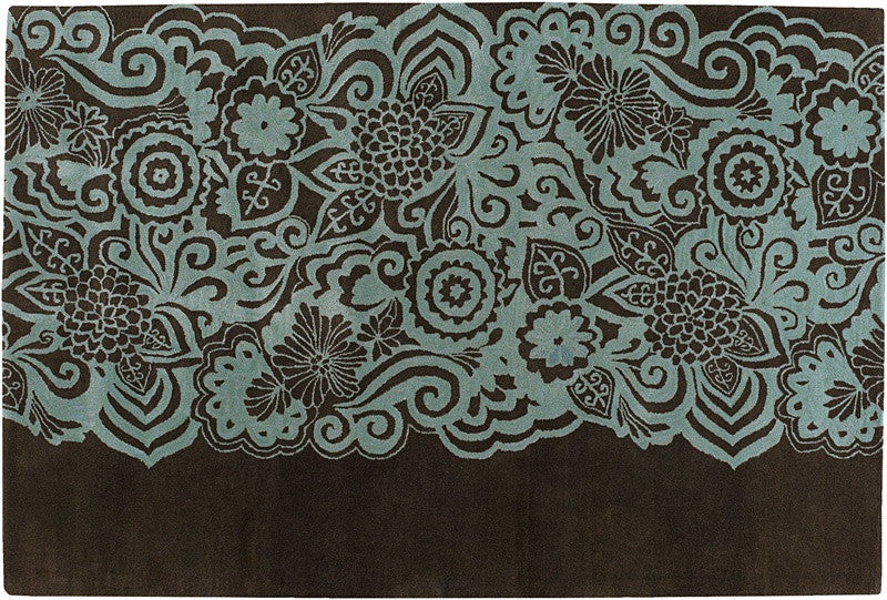 Aschera Hand-Tufted New Zealand Wool Area Rug in Blue & Brown design by Chandra rugs