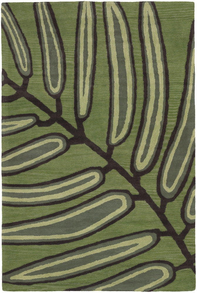Aschera Collection Hand-Tufted Area Rug in Green & Dark Brown