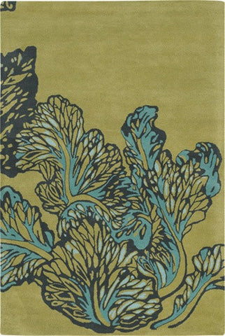 Aschera Hand-Tufted Blue Leaves New Zealand Wool Area Rug design by Chandra rugs