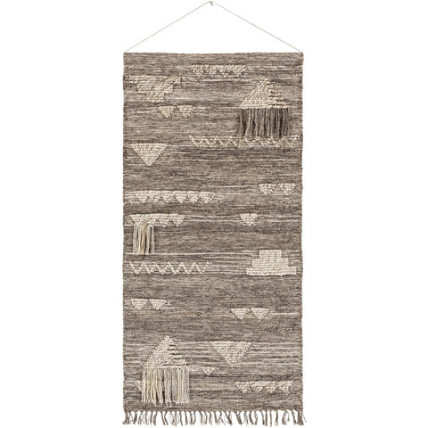 Asher ASE-3000 Hand Woven Wall Hanging in Medium Gray & Ivory by Surya