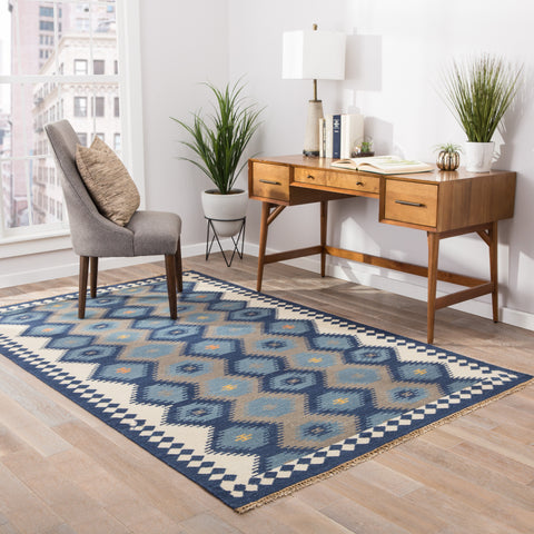 Zebulon Geometric Rug in Patriot Blue & Atmosphere design by Jaipur