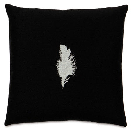 Tuxedo Feather Embroidered Designer Pillow design by Studio 773
