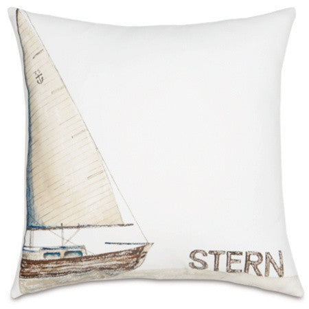 Ship Stern Hand-Painted Designer Pillow design by Studio 773