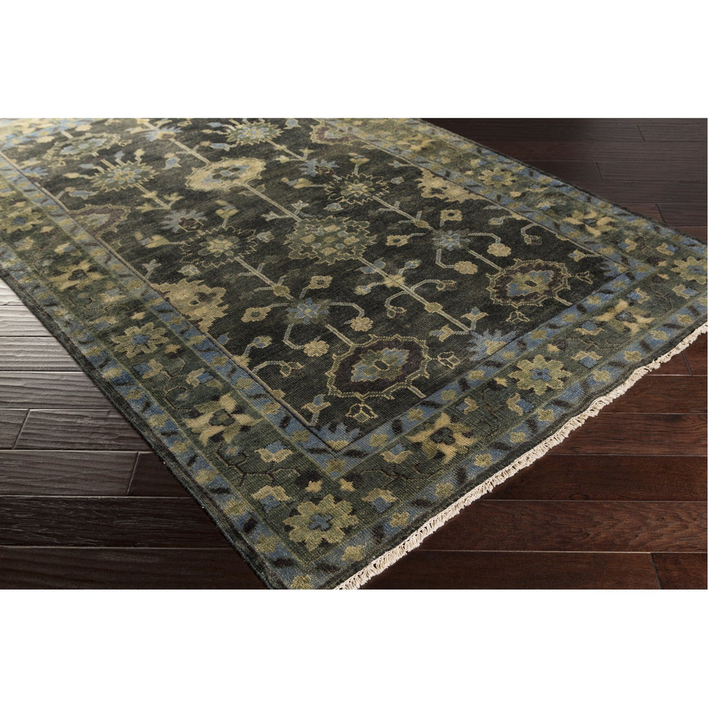 Antique ATQ-1008 Hand Knotted Rug in Dark Green & Charcoal by Surya