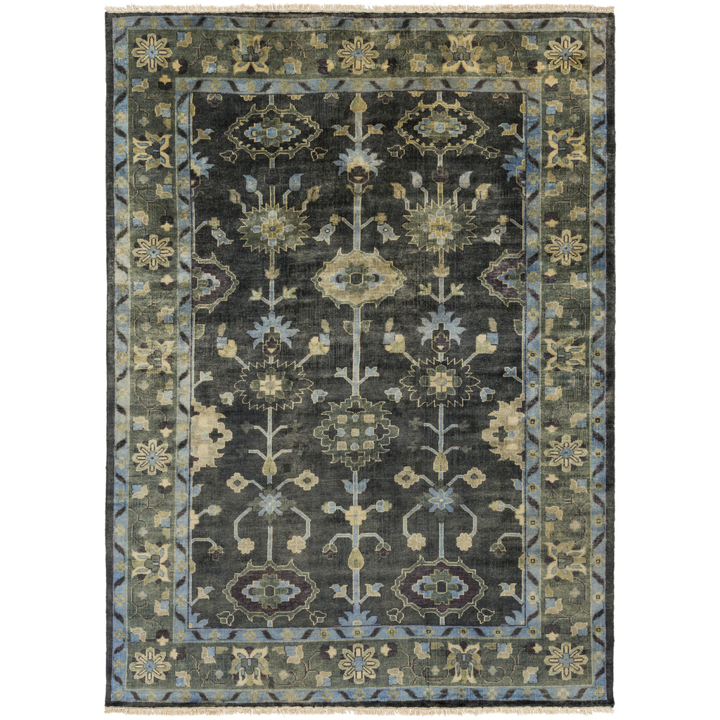 Antique Rug in Dark Green & Charcoal