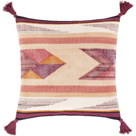 Astoria ATR-002 Hand Woven Square Pillow in Cream & Blush by Surya