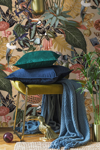 A Tropical Soiree Wallpaper in Gold by Walls Republic