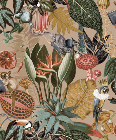 Sample A Tropical Soiree Wallpaper in Gold by Walls Republic