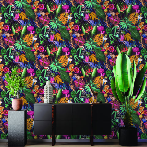 A Tropical Soiree Wallpaper in Plum by Walls Republic