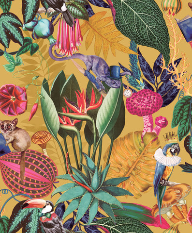 Sample A Tropical Soiree Wallpaper in Yellow by Walls Republic