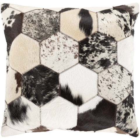 Avani AVI-001 Leather Square Pillow in Black & White by Surya