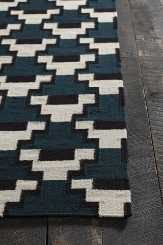 Avon Collection Hand-Woven Area Rug in Blue, Black, & White design by Chandra rugs