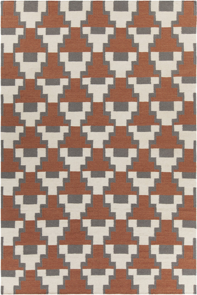 Avon Collection Hand-Woven Area Rug in Rust, Grey, & White design by Chandra rugs