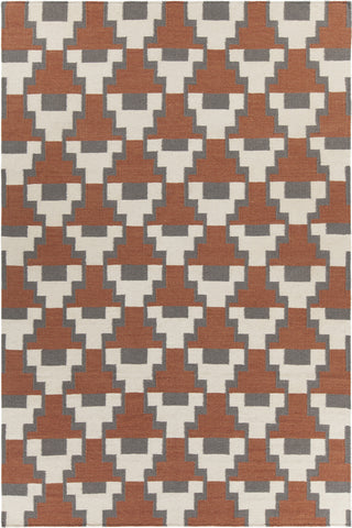 Avon Collection Hand-Woven Area Rug in Rust, Grey, & White